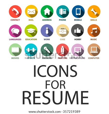 icons set for your resume cv job - Free Resume Icons