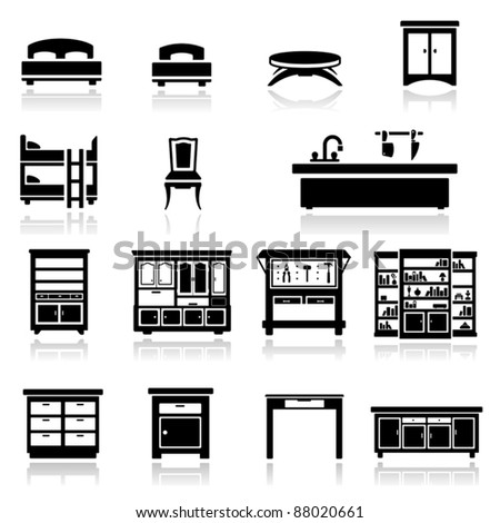 Icons set home furniture - stock vector