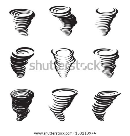 Icons set hurricane. Vector. EPS-10 (non transparent elements) - stock vector