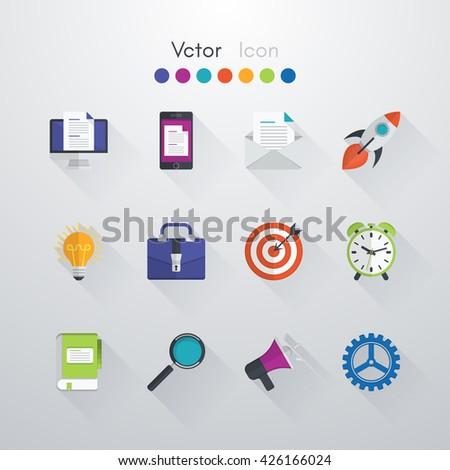 icons set. Icon computer, icon phone, icon mail, icon rocket, icon idea, icon business, icon target, icon clock, icon book, icon search, icon speaker, icon machine, icon vector, icon eps10, icon stock - stock vector