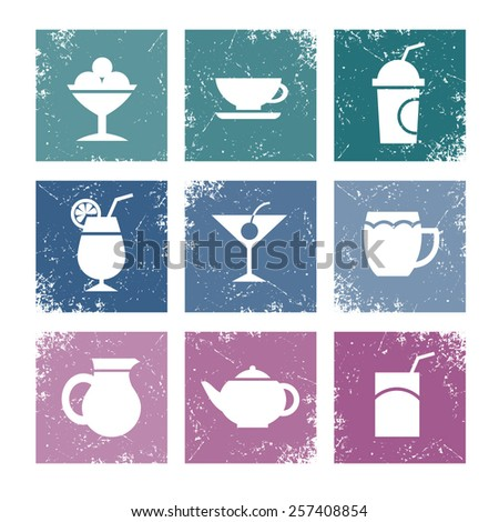 icons set in color texture squares, on icons - pictures of ice cream, coffee, tea, cocktails, beer, juice - stock vector