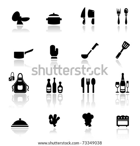 Icons set Kitchen tools - stock vector