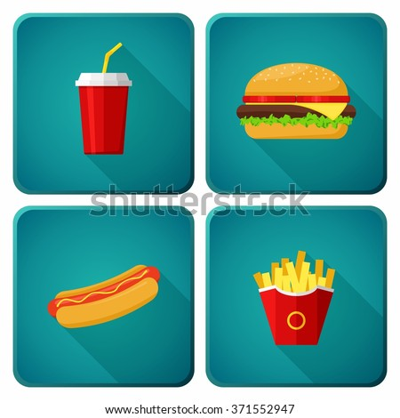 Icons set lunch with Hamburger, Hot Dog,  French Fries and Soda. Group of Fast Food products. Vector Illustration