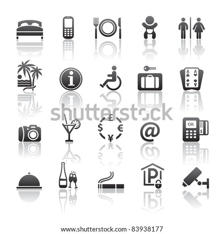 Icons set motel services. Pictogram hotel services. Gray reflection