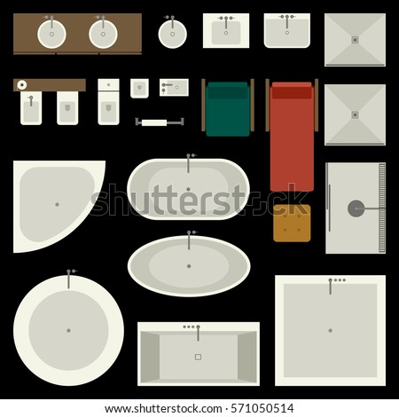 Floor plan furniture stock images royalty free images for Bathroom designs top view