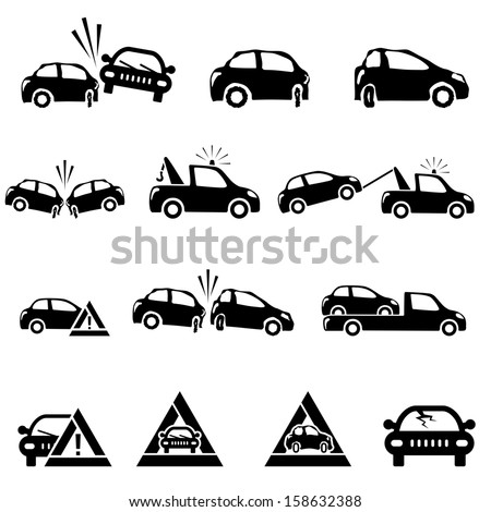 Icons set of car accident - stock vector