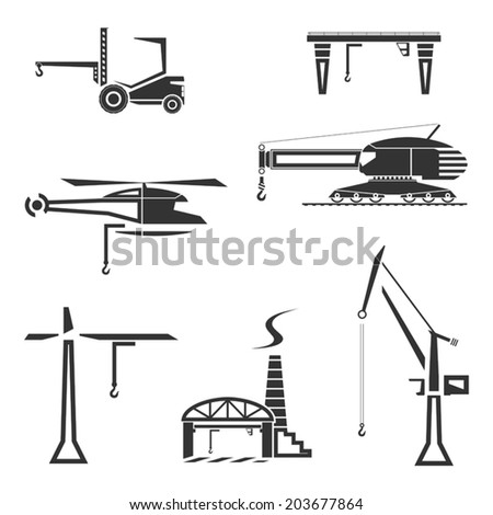 Icons set of cranes. Vector illustration - stock vector