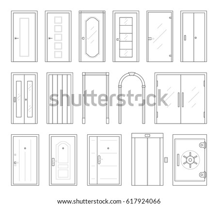 Icons set doors types collection thin stock vector for Types of wood doors are made of