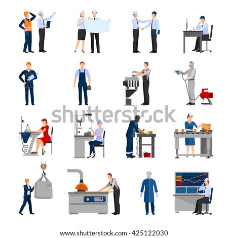 Icons set of drawn in flat style different factory workers from engineer to conveyor operator isolated vector illustration - stock vector
