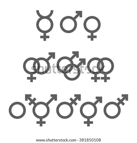 Icons set of gender symbols. Vector, eps10 - stock vector