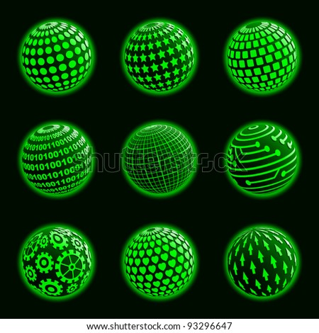 Icons set of green planets with different surface. Vector illustration.