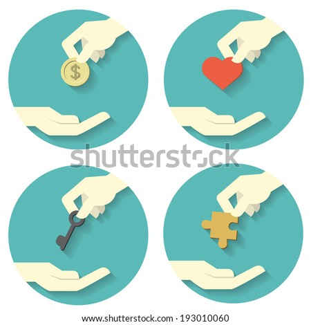 Icons set of hand picking and giving money coin, heart shape, key, and jigsaw. Abstract concept in giving money,  love, strategy in solving problem or management. Flat design with long shadow.  - stock vector