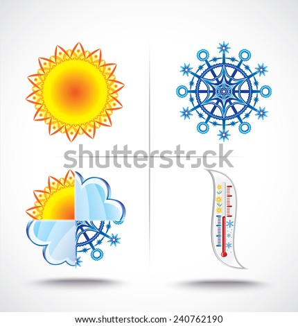 Icons set of heat and cold - stock vector