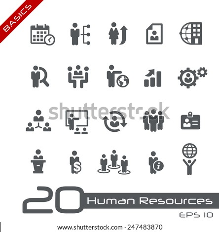 Icons Set of Human Resources and Business Management // Basics - stock vector