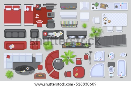 Icons Set Interior Top View Isolated Stock Vector 518830609 Shutterstock