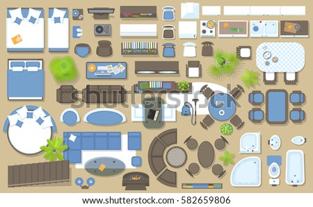 Icons Set Of Interior (top View). Isolated Vector Illustration. Furniture  And Elements