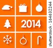 Icons set of new year 2014 in flat style on orange background. Vector illustration - stock photo