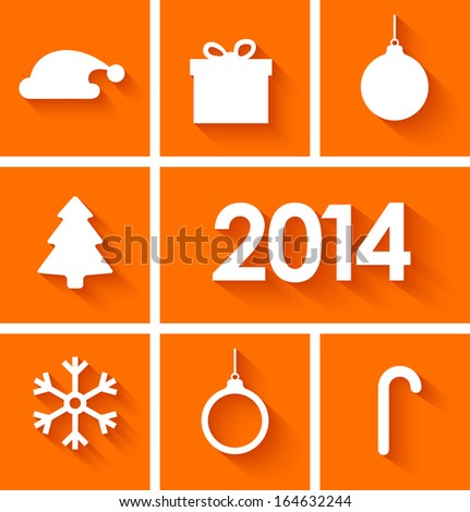 Icons set of new year 2014 in flat style on orange background. Vector illustration - stock vector