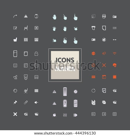 Icons set of ready-made on various topics: web, gestures, computers, interface. The collection of high quality icons for working with Web graphics.