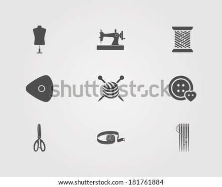 icons set of sewing tailor elements - stock vector