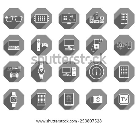 Icons set of smart devices, modern wearable electronics, audio and video gadgets, communication systems and home control and the vehicle - stock vector.
