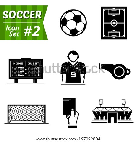 Icons set of soccer elements. Collection of symbols for association football. Qualitative vector (EPS-10) icons about soccer, sport game, championship, gameplay, etc. It has only solid color - stock vector