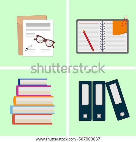 Icons set of stationery for office and school. Vector illustration.