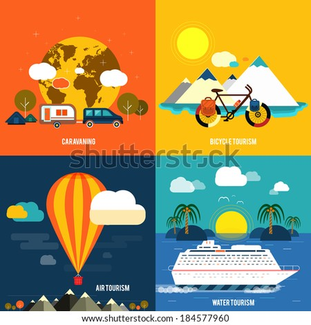 Icons set of traveling, planning a summer vacation, tourism and journey objects and passenger luggage in flat design. Different types of travel - stock vector