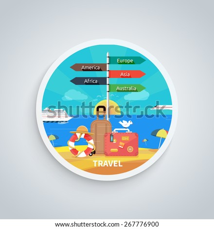 Icons set of traveling, planning a summer vacation, tourism and journey objects and passenger luggage in flat design. Different types of travel. Business travel concept on round banner - stock vector