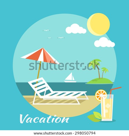 Icons set of traveling, planning a summer vacation, tourism and journey objects and passenger luggage in flat design. Vacation on beach. Different types of travel. Business travel concept on banner - stock vector