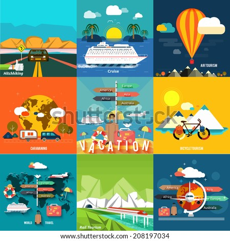 Icons set of traveling, planning a summer vacation, tourism and journey objects, hitchhiking and passenger luggage in flat design. Different types of travel. Business travel concept - stock vector