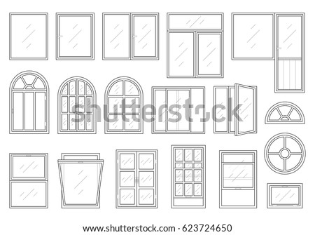 Set windows different shapesmaterials colors plastic stock for Types of window shapes