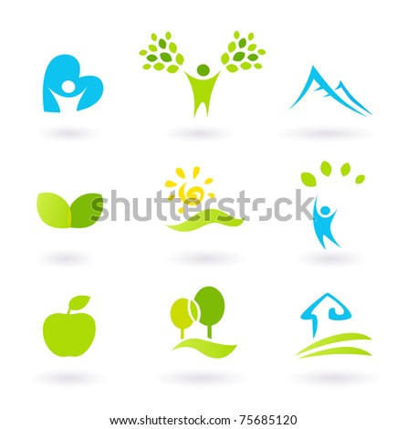 Icons set or graphic elements inspired by nature and life. Landscape, hills, people, leaves and organic living. Vector Illustration. - stock vector