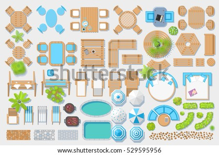 outdoor furniture and patio items top view isolated vector illustration - Garden Furniture Top View