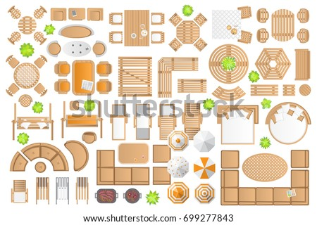 Outdoor Furniture And Patio Items. (top View) Isolated Vector Illustration
