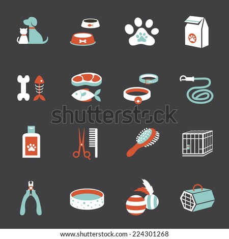 Icons set : Pet, Cat & Dog Object - stock vector