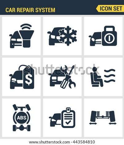 Icons set premium quality of car repair system icon automobile instrument service. Modern pictogram collection flat design style symbol. Isolated white background - stock vector
