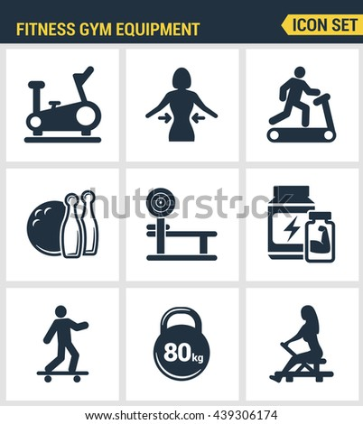 Icons set premium quality of fitness gym equipment, sports recreation activity. Modern pictogram collection flat design style symbol. Isolated white background