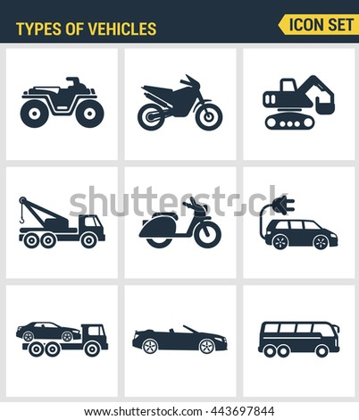 Icons set premium quality of types vehicles traffic car transport auto. Modern pictogram collection flat design style symbol. Isolated white background - stock vector