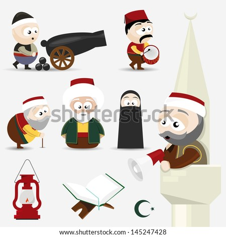 icons set ramadan - stock vector