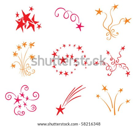 Icons set - - salutes the stars - stock vector