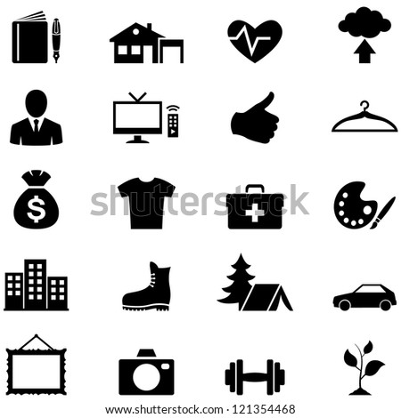 Icons set simple black vector - stock vector