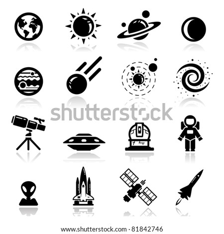 Icons set space - stock vector