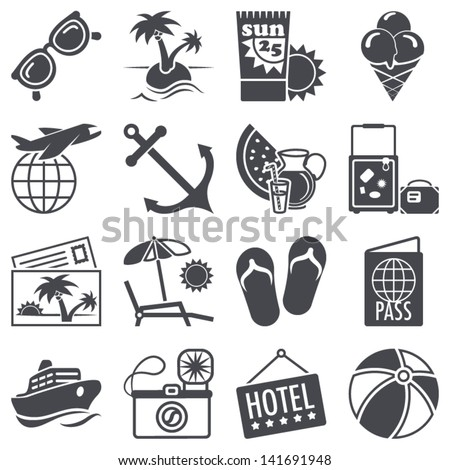 Icons set: Summer vacations - stock vector