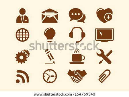 Icons set web and business - stock vector