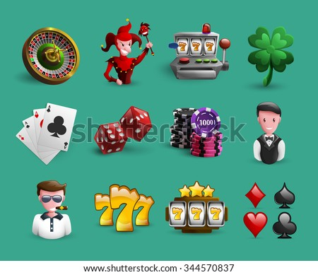 Icons set with chance games and casino related characters and elements cartoon isolated vector illustration