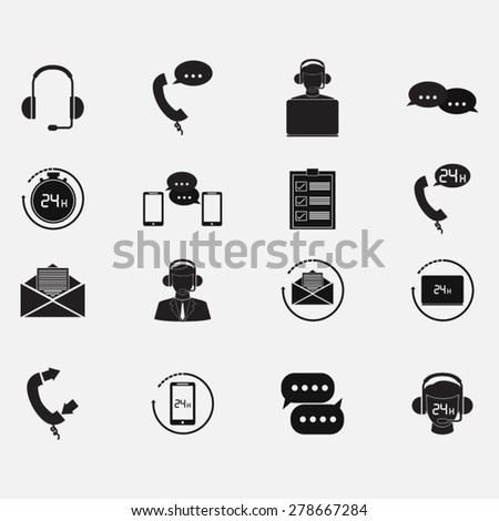 Icons set with customer support - stock vector