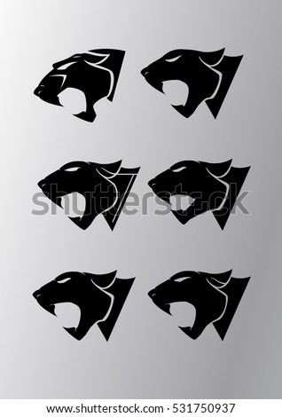 Icons set with heads of a panthers. Templates for identity, logo and prints