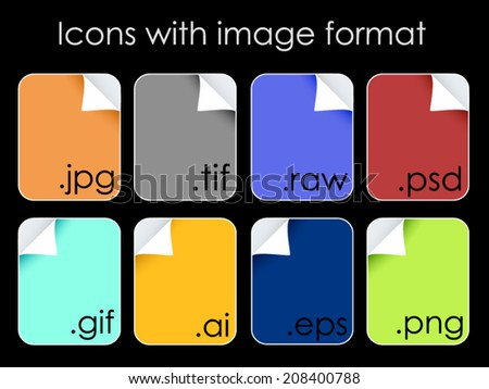 Icons set with image format.Vector illustration. - stock vector