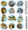 icons set with wild animals of africa - stock vector